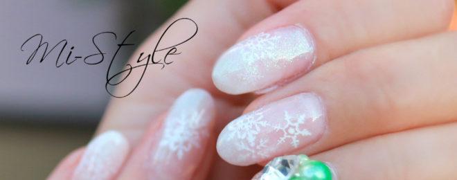 盛りガール♪オーロラパール&雪の結晶ネイル